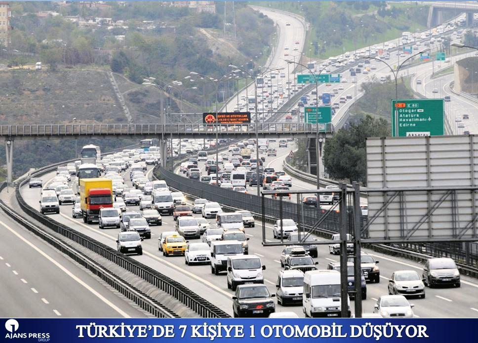 TÜRKİYE'DE 7 KİŞİYE 1 OTOMOBİL DÜŞÜYOR
